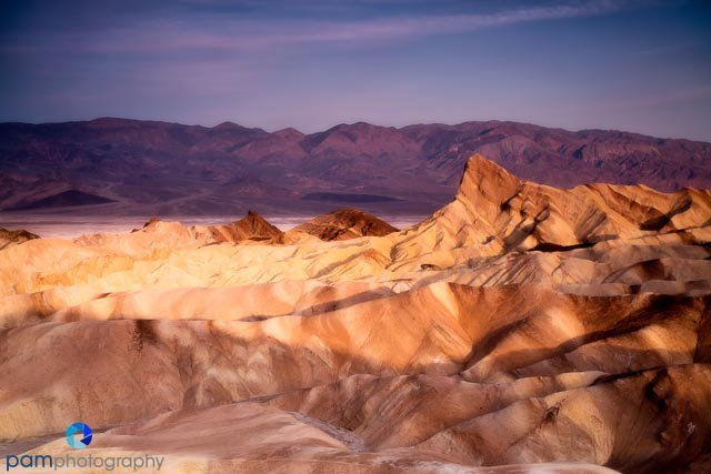 Manly Beacon - sunrise at Zabriskie Point in Death Valley