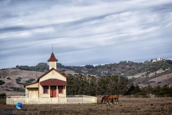 the old schoolhouse in San Simeon, CA (with Heartst Castle in the background)