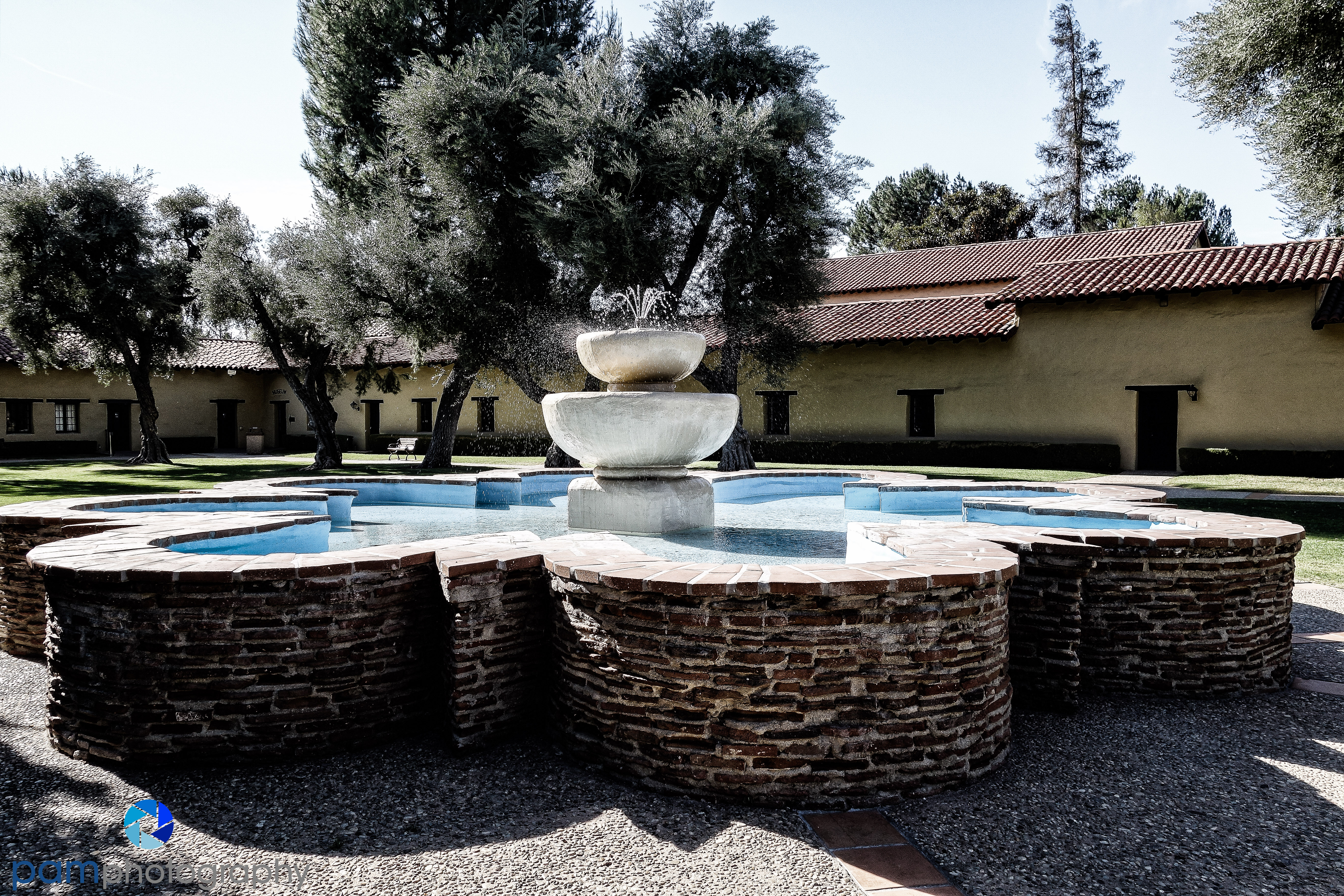 There is a huge courtyard with the requisite fountain