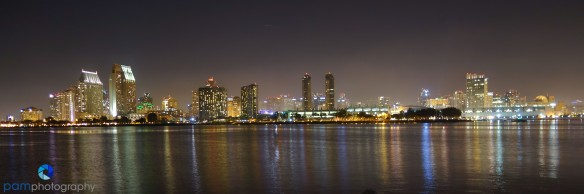 Night reflection of downtown San Diego from Coronado Island