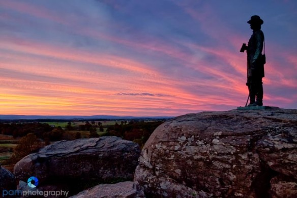 Gouverneur Warren Statue on Little Round Top, Gettysburg National Battlefield Park, PA