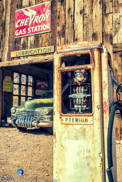 Old car and gas pump at the Nelson Ghost Town