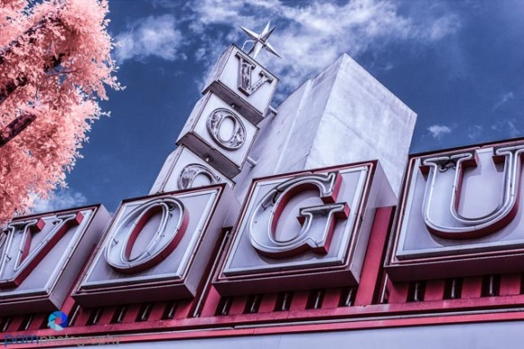 Color infrared image of Vogue theater in Hollywood