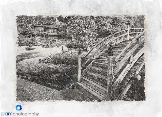 Sketch of moon bridge at the huntingtons japanese garden
