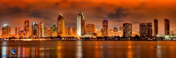 7 shot pano of San Diego from Coronado Island