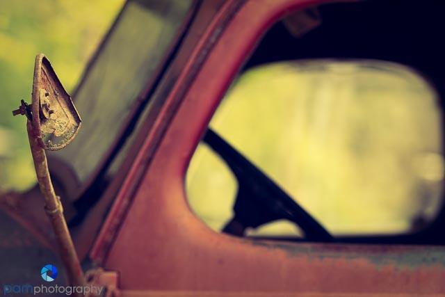 Steering wheel of old truck