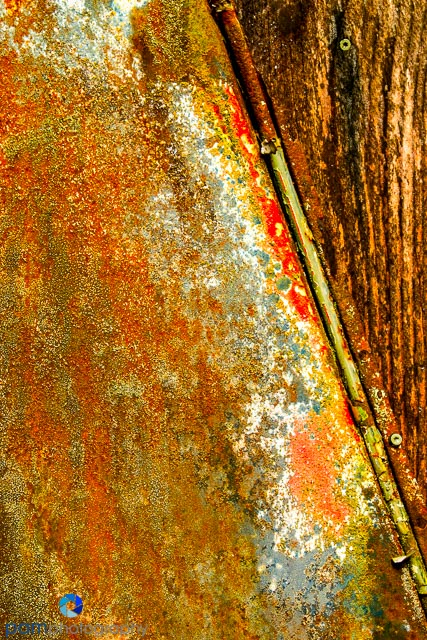 Abstract metal and wood