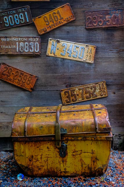 Old trunk with license plates
