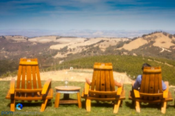 Pinhole photography - couple wine tasting and enjoying the view