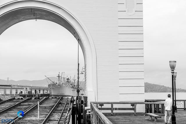 Black and white of San Francisco shipping pier