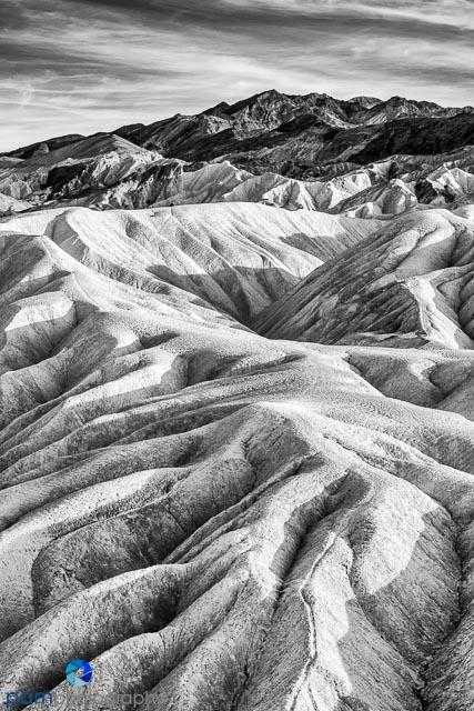 Black and white of Death Valley's Zabriskie Point